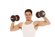 Man with biceps and weights