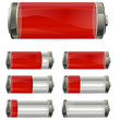 red battery with different levels of charging