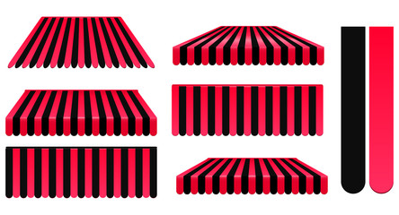 red and black awnings set isolated on white