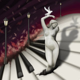Fototapety woman sculpture and bird in fantasy piano world, digital paintin