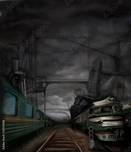 steampunk landscape with trains and metal buildings, digital pai