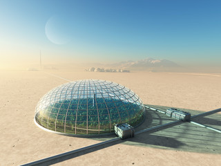 futuristic greenhouse in desert