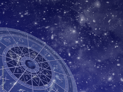 Zodiac circle on star field