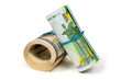 Two rolls of euros and dollars
