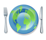 international food fork plate knife isolated world flag cuisine poster