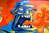 Fototapety Graffiti Man and Fire