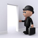 3d Banker  finds the door open poster
