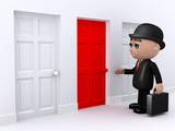 3d Banker chooses the red door poster