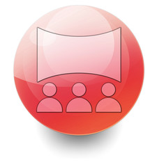 "Red Shiny Orb Button ""Cinema / Movie Theater"""