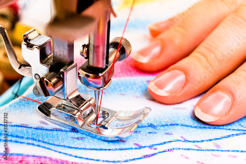Hand sewing on a machine
