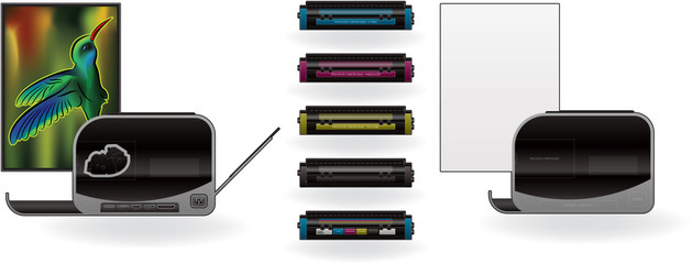 LaserJet Printer & CMYK Cartridges
