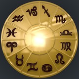 Golden Disk with Brown Zodiac Signs