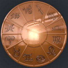 Copper Disk with Glassy Zodiac Signs
