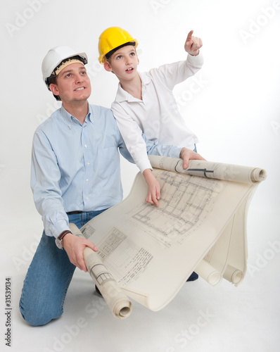 Father and son planning their home