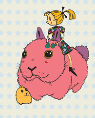 Girl with Giant Pink Bunny and Little Friend (vector)