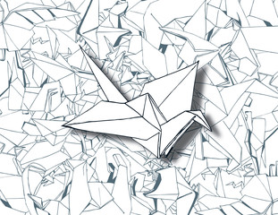 Traditional Origami on White Paper Background Vector