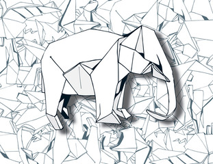 Elephant Origami on Paper Background Vector