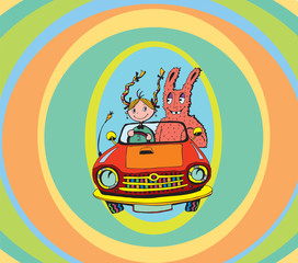 Girl and Bunny in Vintage Car (vector)