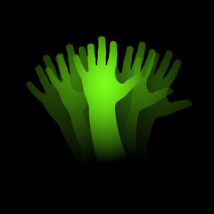 Goodbye, moving hand in black background # Vector