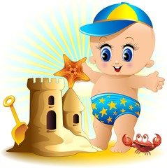 Bambino e Castello di Sabbia-Baby Boy with Sandcastle-Vector