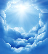 blue sky with sun and beautiful clouds - 31544727