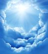 Leinwandbild Motiv blue sky with sun and beautiful clouds