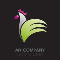 Logo Rooster on black background # Vector