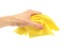 yellow duster in the hand poster