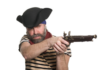 Pirate in tricorn hat with a musket