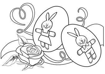 illustrazione solo contorno da colorare con uova decorate e rosa