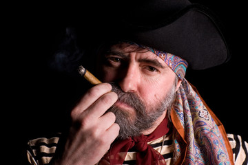 Pirate smoking a cigar.