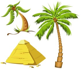 Tropical palm trees and Egypt pyramid.