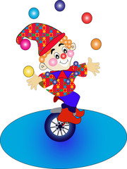 clown on bicycle