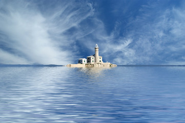 lighthouse in the sea against the blue sky with clouds