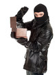 male thief in balaclava with jewelry box