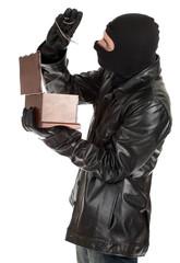 male thief in balaclava with jewelry box
