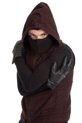 male thief in dark clothes, mask and hood