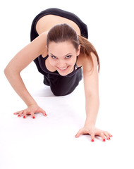 beautiful fitness woman doing stretching exercise, series