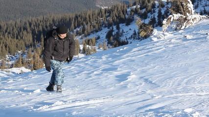 hiking in snowy mountain