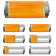 orange battery with different levels of charging