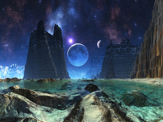 Moonscape over Alien Ocean