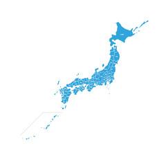 日本地図 都道府県名入り