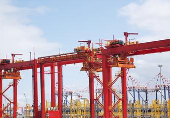 Cargo crane in dockyard