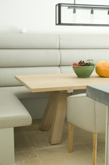 Booth and table in modern dining room