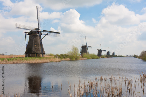 Historic windmills at Kinderdijk in the Netherlands