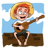 Cartoon of little boy playing guitar