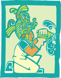 Mayan Workman with Drill poster