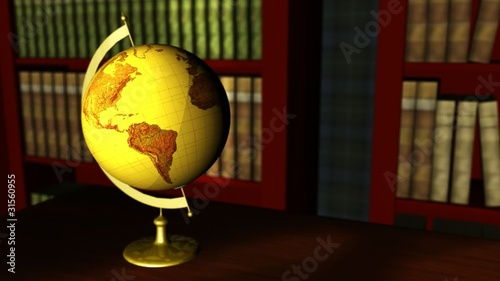Old globe in a classic library