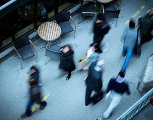 people walking in the city seen from above