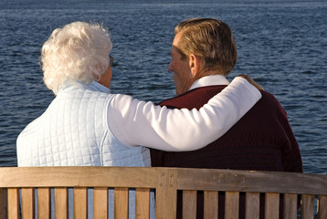 Elderly couple at the sunset of their life